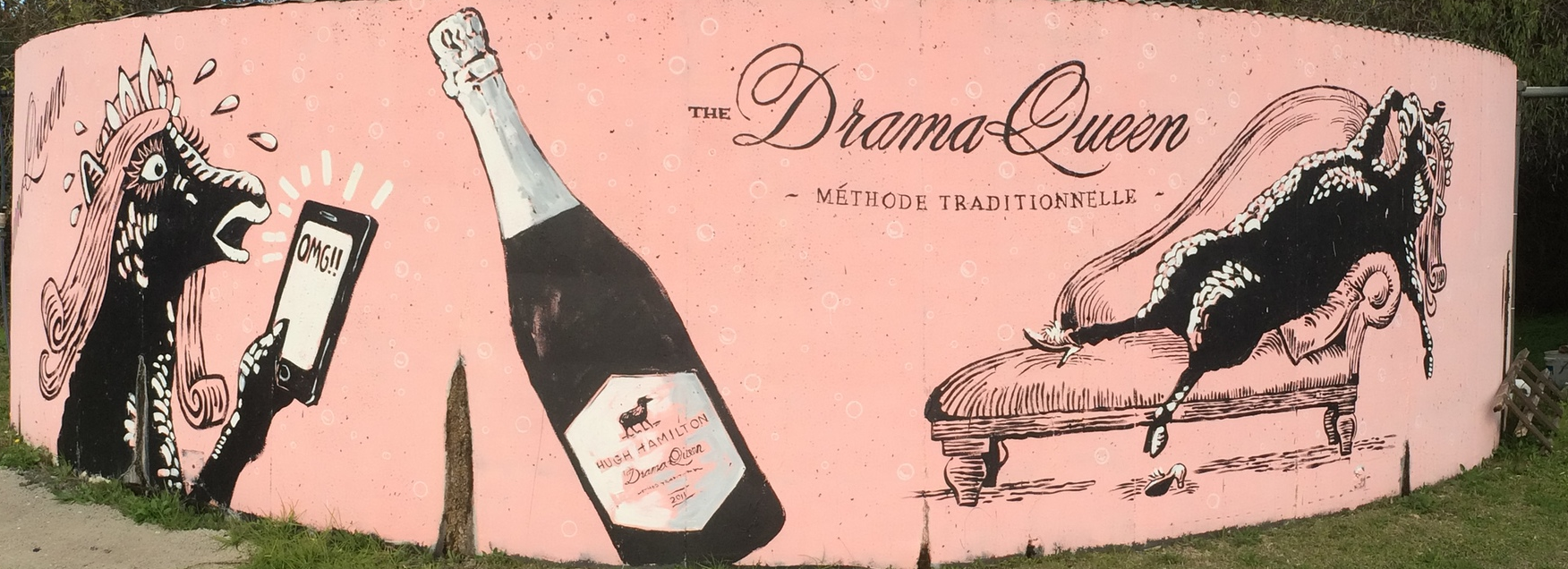 Even the water tank outside of Hugh Hamilton Wines catches a splash of personality, featuring their new bubbly, 'The Drama Queen'