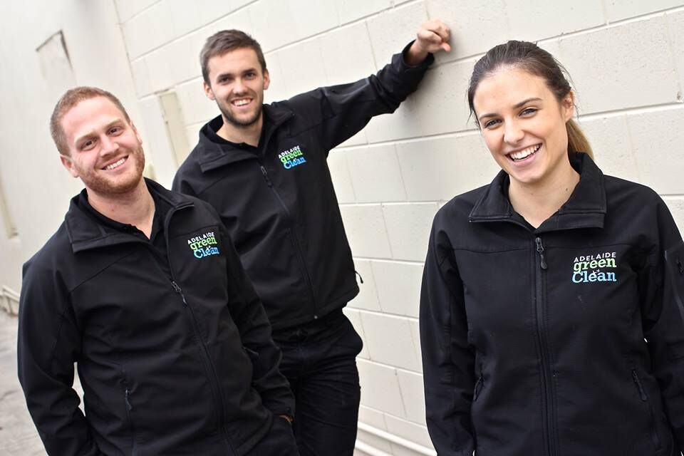 (L-R) Jordan Walsh, Daniel Weekley and Alice Wilson (client services manager) of Adelaide Green Clean