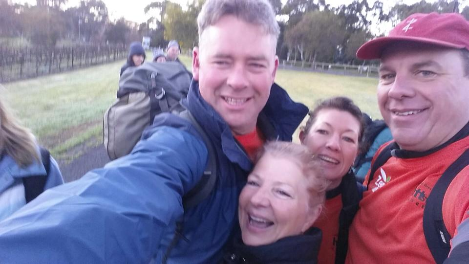 Always time for a selfie at the break station (Left to right: Jock Harvey, Leonie Hick, Julie Day and Ben Riggs)
