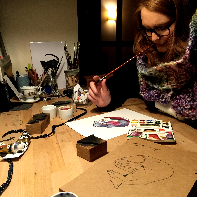 Artist, Polly Macaulay in her workshop