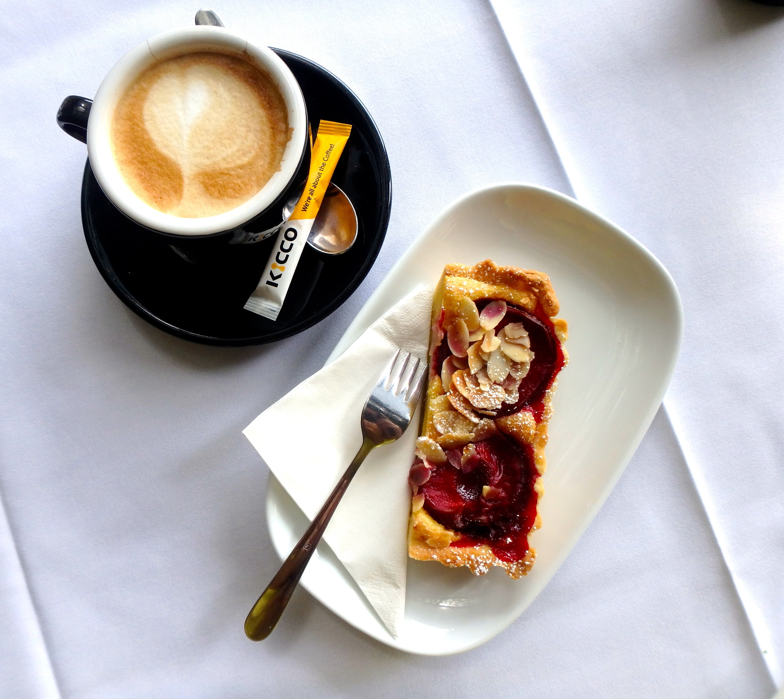 A delicious tart of blood plums, roasted almonds and buttery shortcrust pastry, served with the most amazing Bonsoy flat white I've ever had.