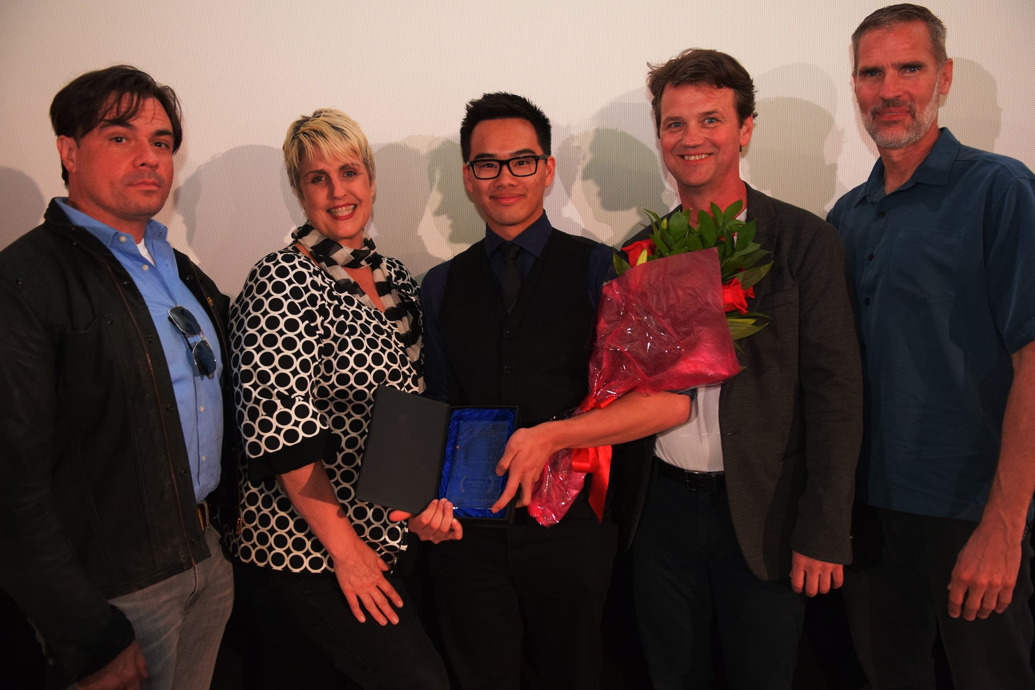Henry at the Youth Silent Film Festival International Awards with celebrity judge panel (left to right) Tom DeSanto, Lourri Hammack, Michael Currie and Steve Oster