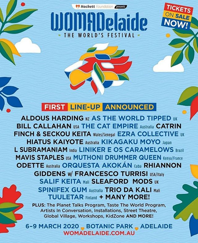 Happy days!! Here's the first lineup announcement for @womadelaide 2020! We can already hear the music, feel the grass and taste the food 🙌 #WOMAD20 #womadelaide #festival #worldmusic #music #culture #art #food #world #adelaide #livemusic #southaustralia #thisisradelaide