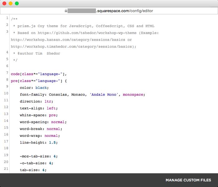 Syntax highlighting on Squarespace — sebnash