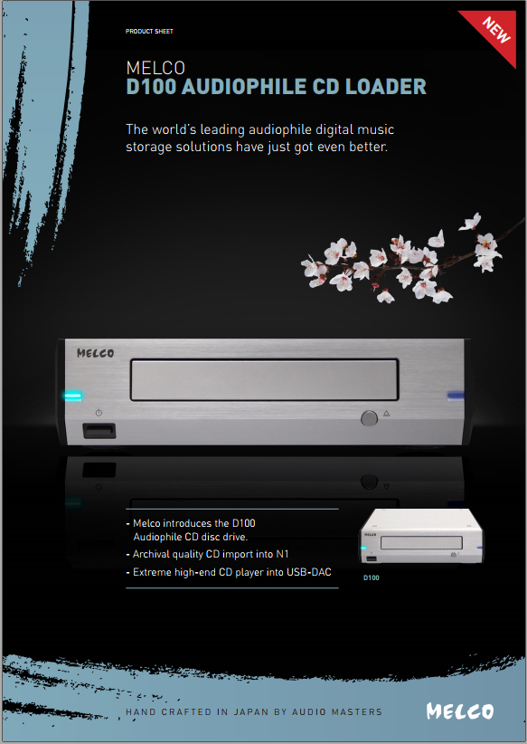 D100 optical drive/transport - Archival-quality data capture and outstanding CD transport performance when used with a DAC