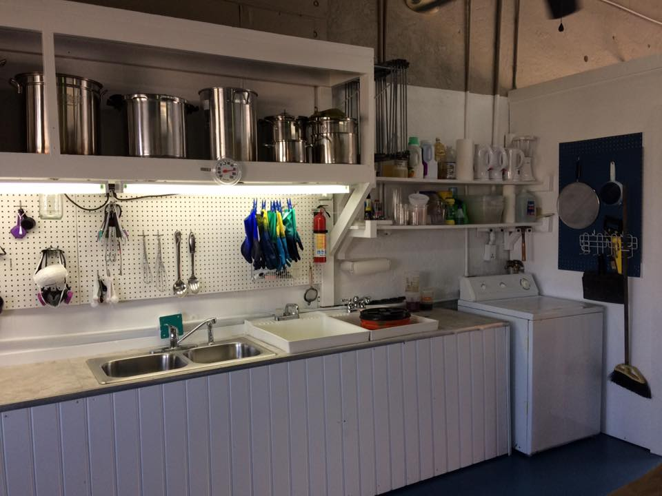 This is The DYEHOUSE Studio. The Studio has a fully stocked dye kitchen and offers unique fiber workshops.