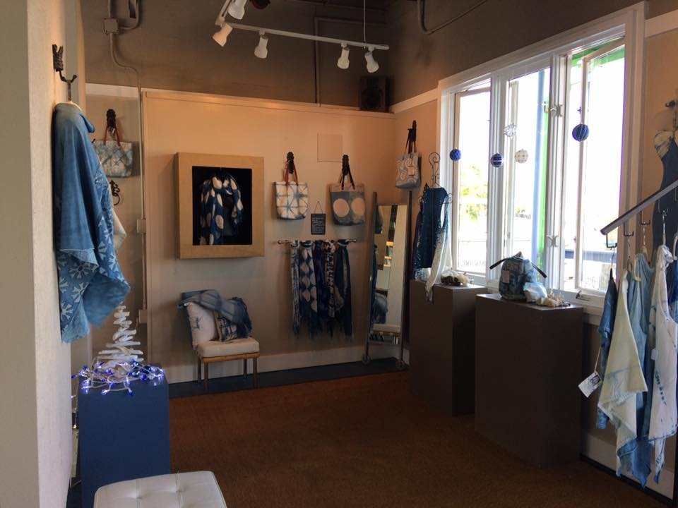 Beautiful Indigo Shibori items for sale in the studio boutique. All items are one of a kind and hand dyed onsite in The DYEHOUSE Studio.