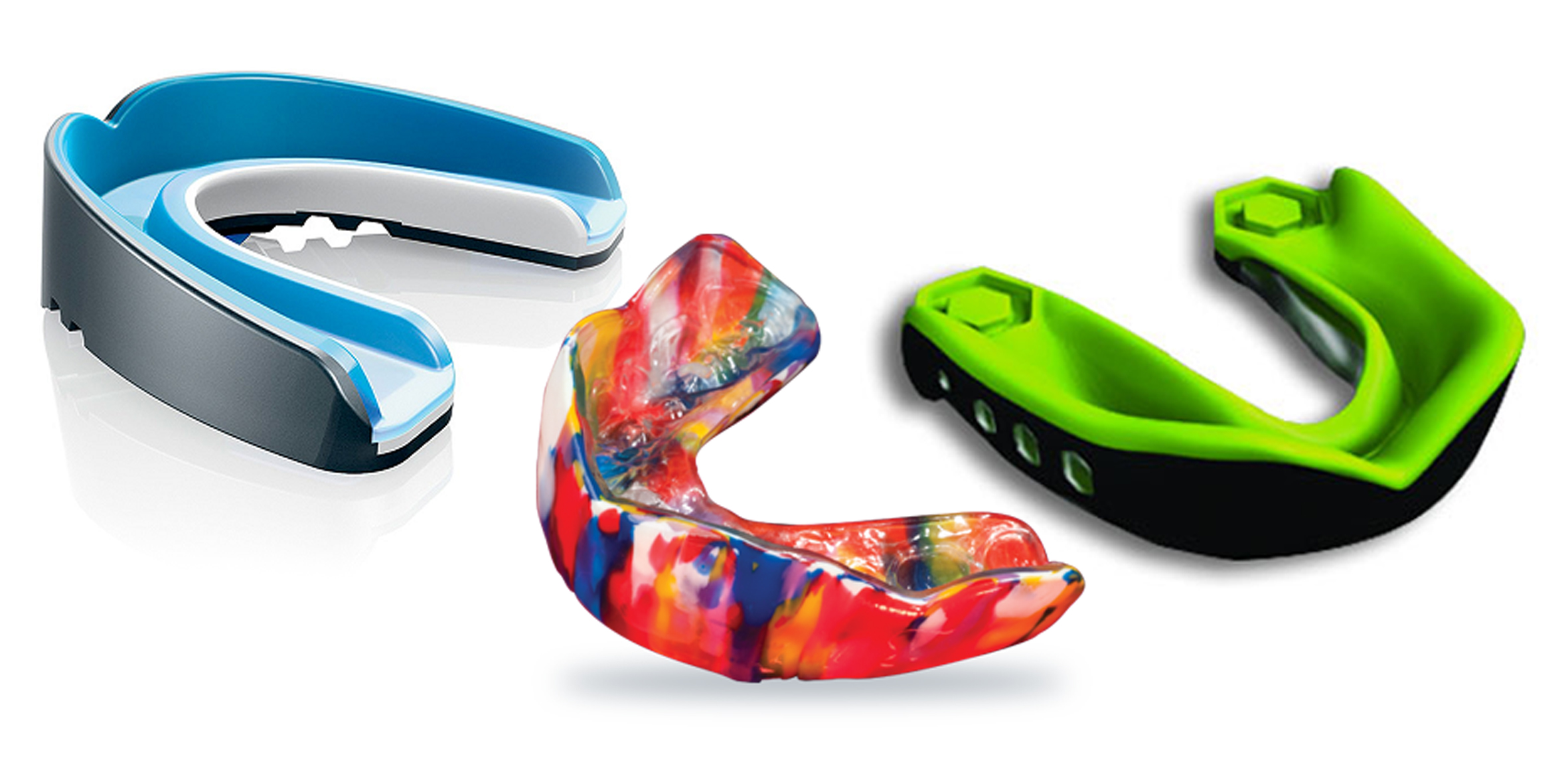 Mouth guards come in a variety of shapes and colours!