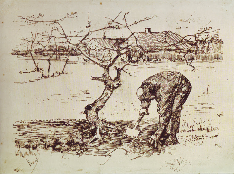 Gogh, Vincent van, 1853-1890. In the Orchard, or, Gardener near a Gnarled Apple Tree, from Art in the Christian Tradition, a project of the Vanderbilt Divinity Library, Nashville, TN. http:// diglib.library.vanderbilt.edu/act-imagelink.pl?RC=55406 [retrieved March 21, 2019]. Original source: http://commons.wikimedia.org/wiki/File:Van_Gogh_-_In_the_Orchard_-_1883.jpg.