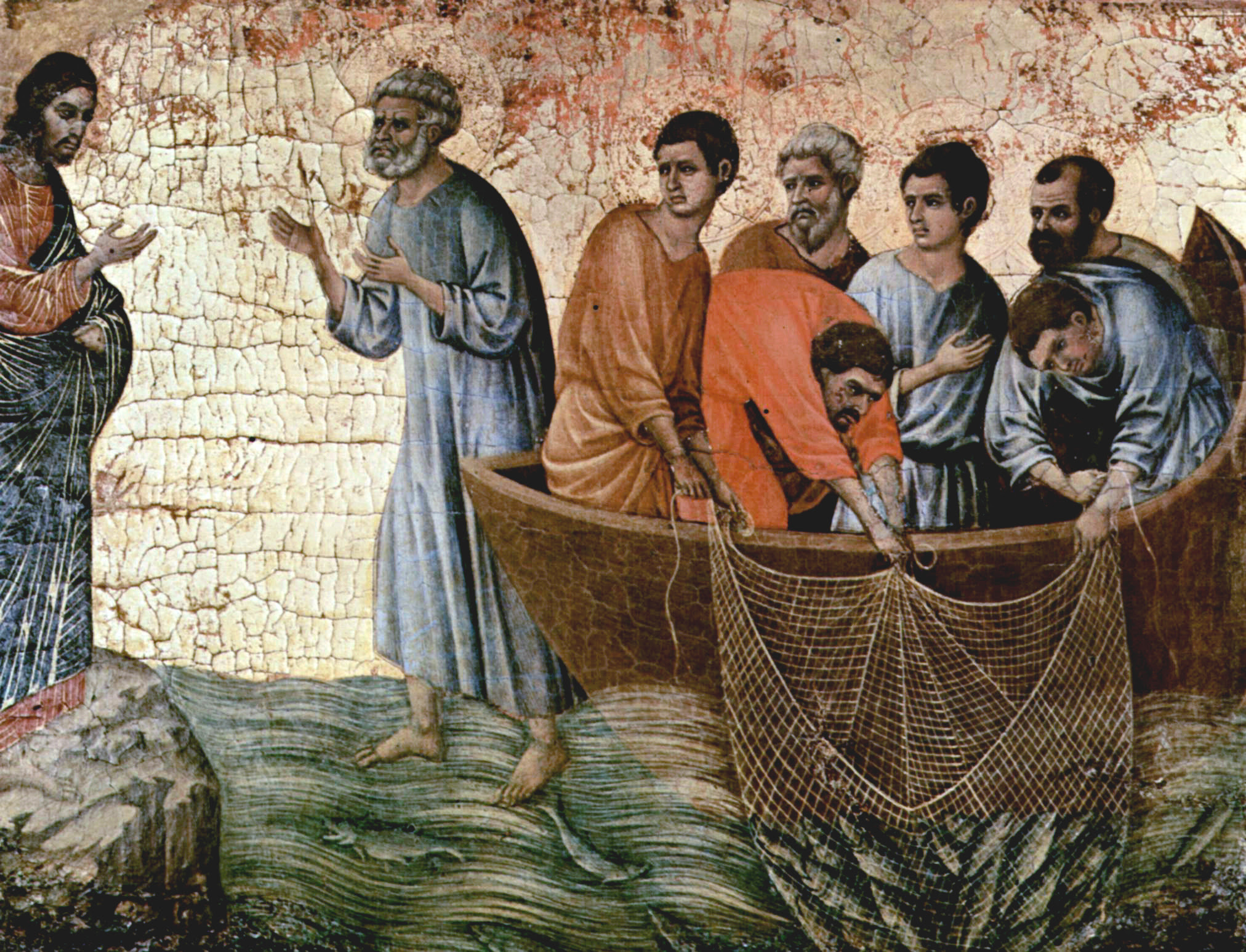 Duccio, di Buoninsegna, d. 1319. Jesus Appears on Lake Tiberias, from Art in the Christian Tradition, a project of the Vanderbilt Divinity Library, Nashville, TN. http://diglib.library.vanderbilt.edu/act-imagelink.pl?RC=49155 [retrieved May 1, 2019]. Original source: www.yorckproject.de.