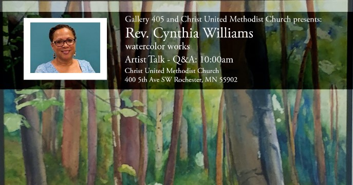 """Sunday June 10, Rev. Cynthia Williams will give an Artist talk around her work that is has been on display in the 405 Gallery at Christ United Methodist Church.   """"I recently read a book highlighting watercolor artists that asks the question, """"why do you paint? It is a great question for me. I paint because it is the best way I have found to keep Sabbath and honor my creativity within. I paint in watercolor because it is a medium that reminds me that no matter how I attempt to control it, the water, when added to paint and paper will do what it will do. And more often, it is something more interesting and beautiful than I could imagine. It is a metaphor for my life and journey."""" - Rev. Cynthia Williams  Biography: Rev. Cynthia Williams, is an ordained Elder in the United Methodist Church and serves as Superintendent, River Valley District in the Minnesota Annual Conference. She previously served in the dual role as Associate Pastor at Camphor Memorial United Methodist Church in St Paul, MN and at Park Avenue United Methodist Church in Minneapolis. Her work as pastor, teacher and preacher is enhanced through her work as a life coach – calling organizations and individuals to intentionally and authentically embrace their identity, creativity and wholeness in Christ. Prior to entering full-time ministry, Rev. Williams spent over 20 years in the financial services industry in customer operations focusing on client intelligence initiatives, strategic planning and staff and systems development. Rev. Williams earned a Bachelor of Science in Communications from the University of Tennessee, Knoxville and a Masters of Divinity from Luther Seminary, St Paul, MN. In 2015 she became a member of the Collegeville Institute Fellows Program. Cynthia also serves on the Board of Trustees for United Theological Seminary of the Twin Cities."""