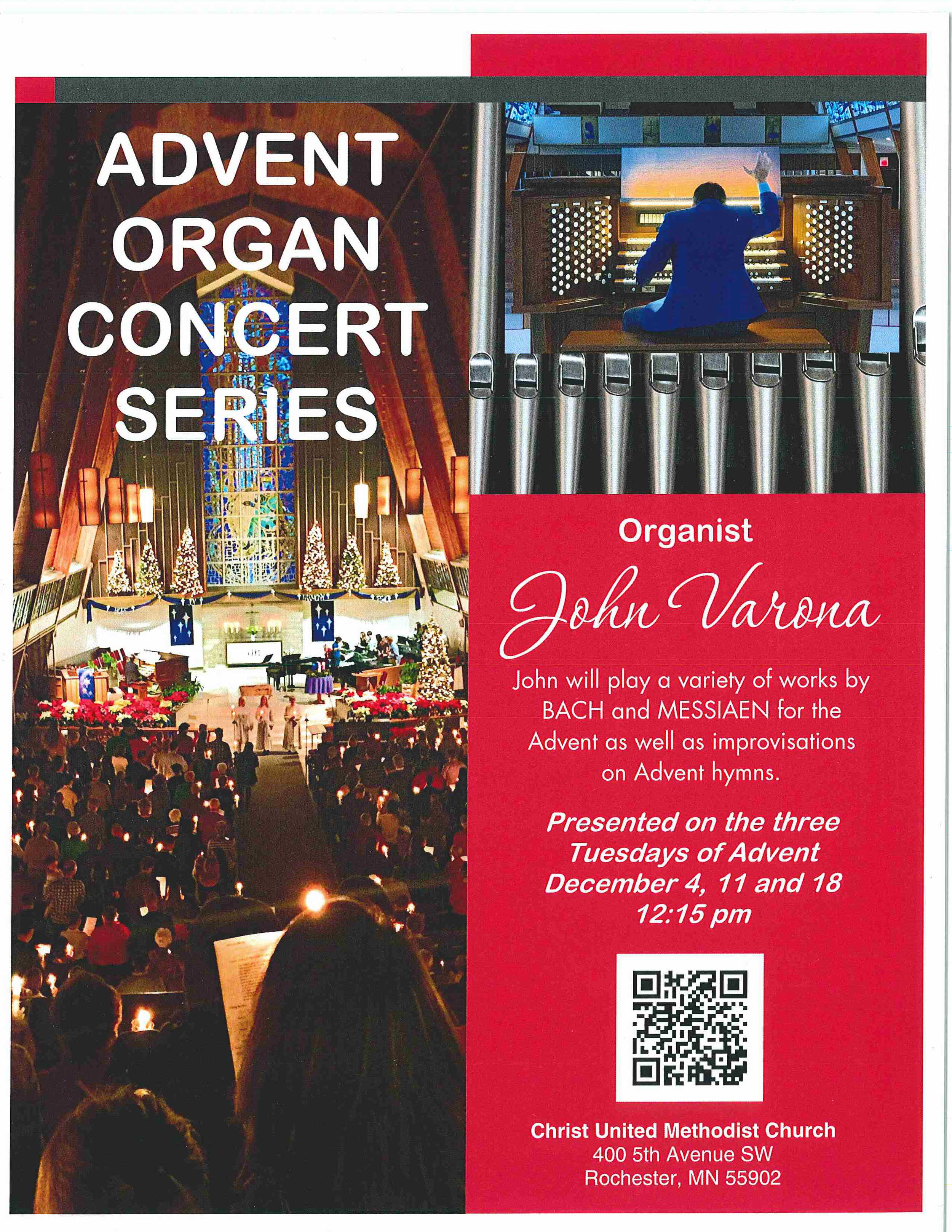 Four Sessions of joyful music starting Tuesday, December 4th in our Sanctuary! Come one and All to a marvelous Advent concert as performed by our organist John Varona and accompanied by the accomplished clarinetist David Townsend. This event promises to be a delightful welcome to this Advent season!