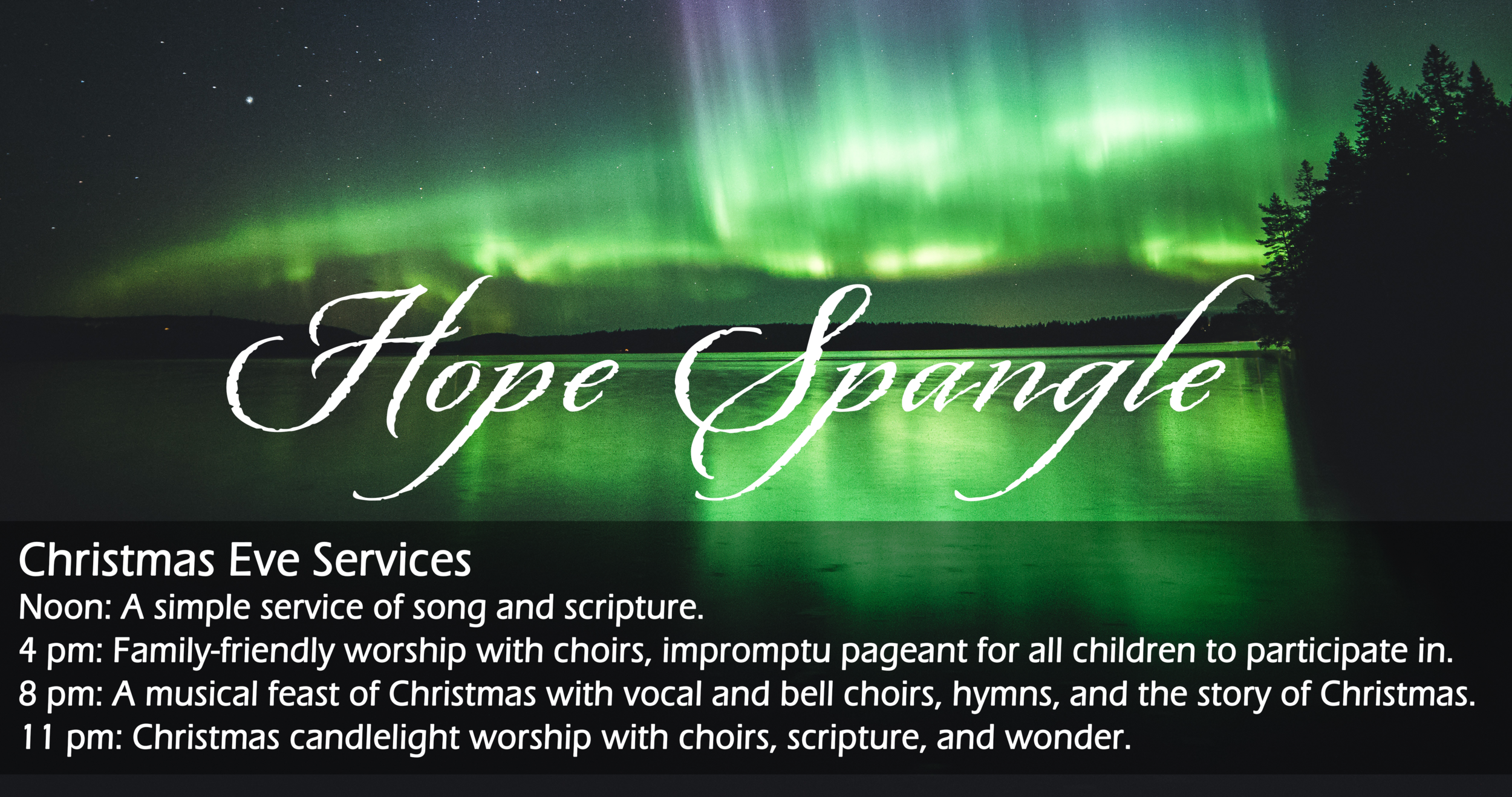 This is the family service extravaganza! Bombastic worship music and an adorable impromptu children's pageant, all wrapped up in a memorable and celebratory worship experience!