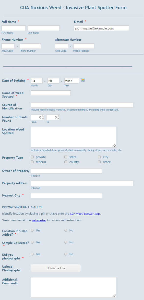 Colorado Department of Agriculture: Spotter Form