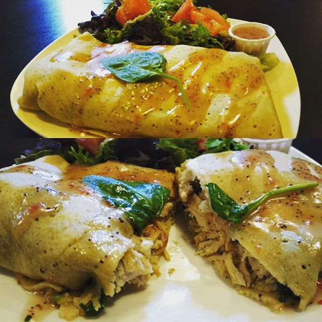 New and Exciting! The Greek Turkey Crepe. Stuffed with roasted turkey, grilled spinach, feta, and cranberry mayo served with a side salad and cranberry vinaigrette. Yum #coffee #crepes #pghcoffee #pghfood #pghfoodie #harmonypa
