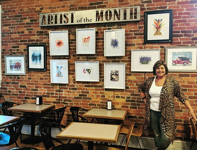 "Our new ""Artist of the Month"" Jodi McKinney.. come in and check out this amazing artist work and enjoy your favorite cup of coffee and crepe🎨☕🌞 #wunderbarharmony #historicharmony #pittsburghfoodie #pittsburghfood #crepes #coffee #belgianwaffles #artistofthemonth"