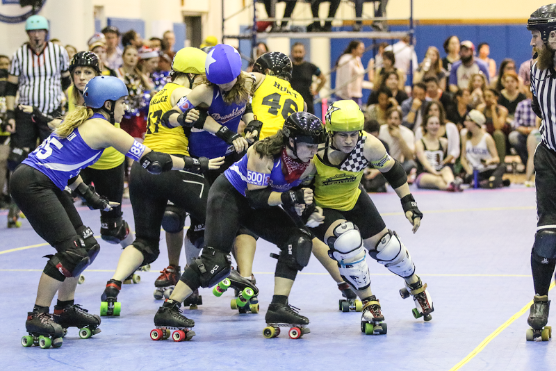 Fisher Twice (right) was the Gridlock's highest-scoring jammer and game MVP. Photo by David Dyte.