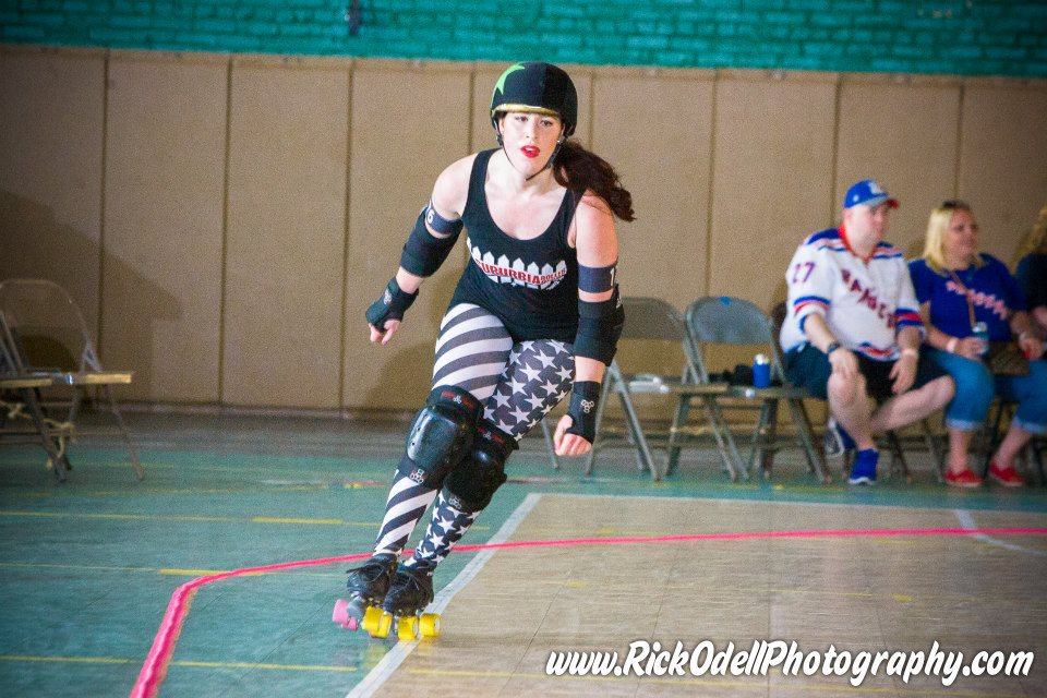 Miss US Slay jams for Suburbia Roller Derby, before joining Gotham for the 2016 season. Photo Rick Odell.