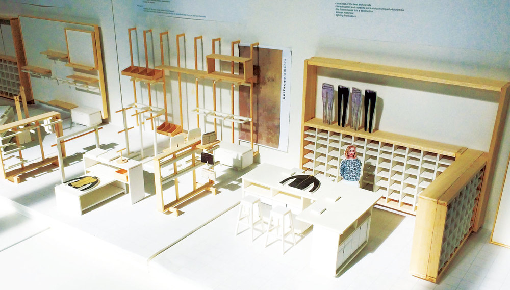 Architectural retail model showcasing modular design intent and visual merchandising strategy.