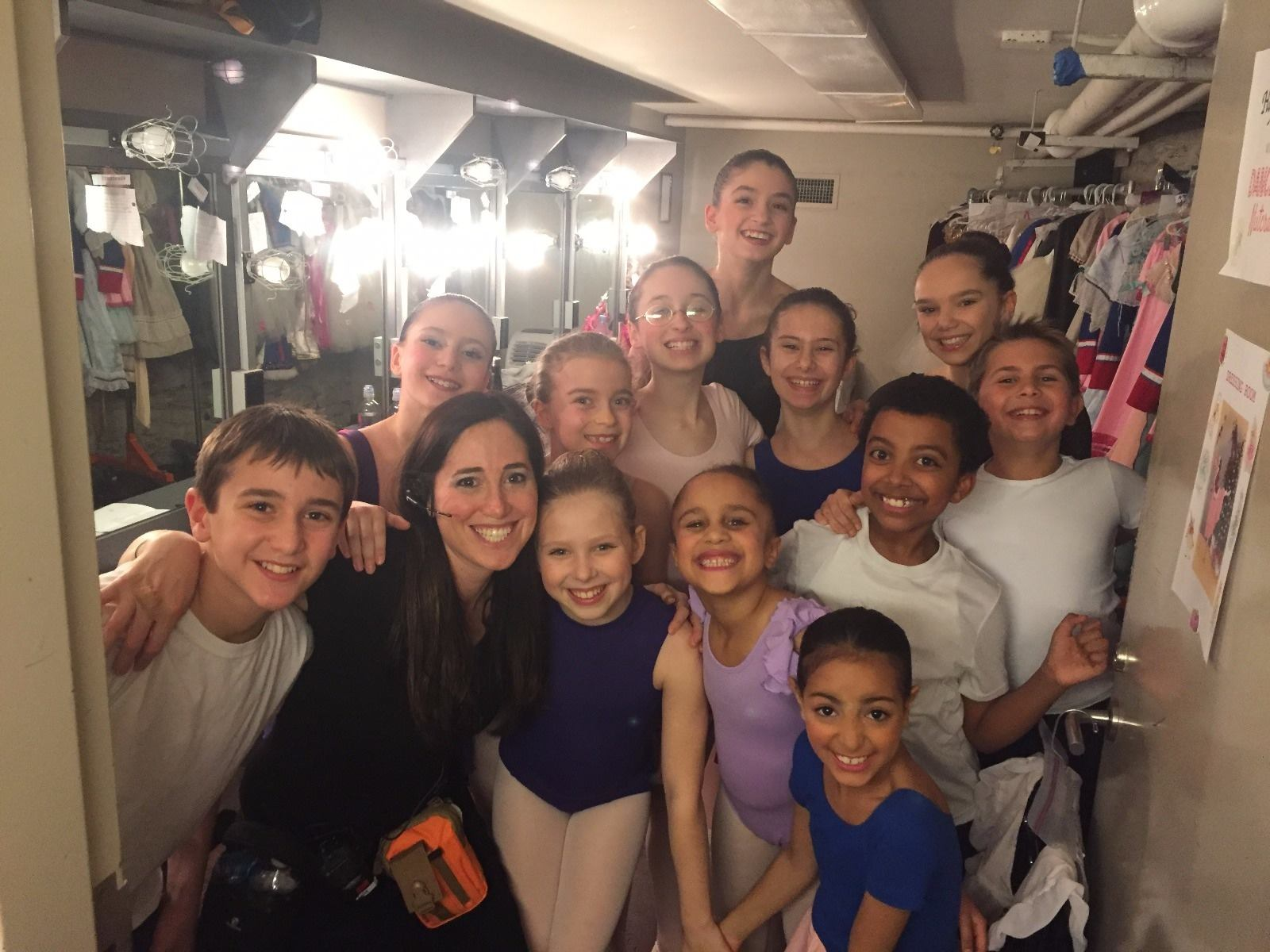 Cast members backstage at KOTA's  Dance Divas Nutcracker  at Theatre Row with their Child Guardian, Abigail Septimus (December 2017)