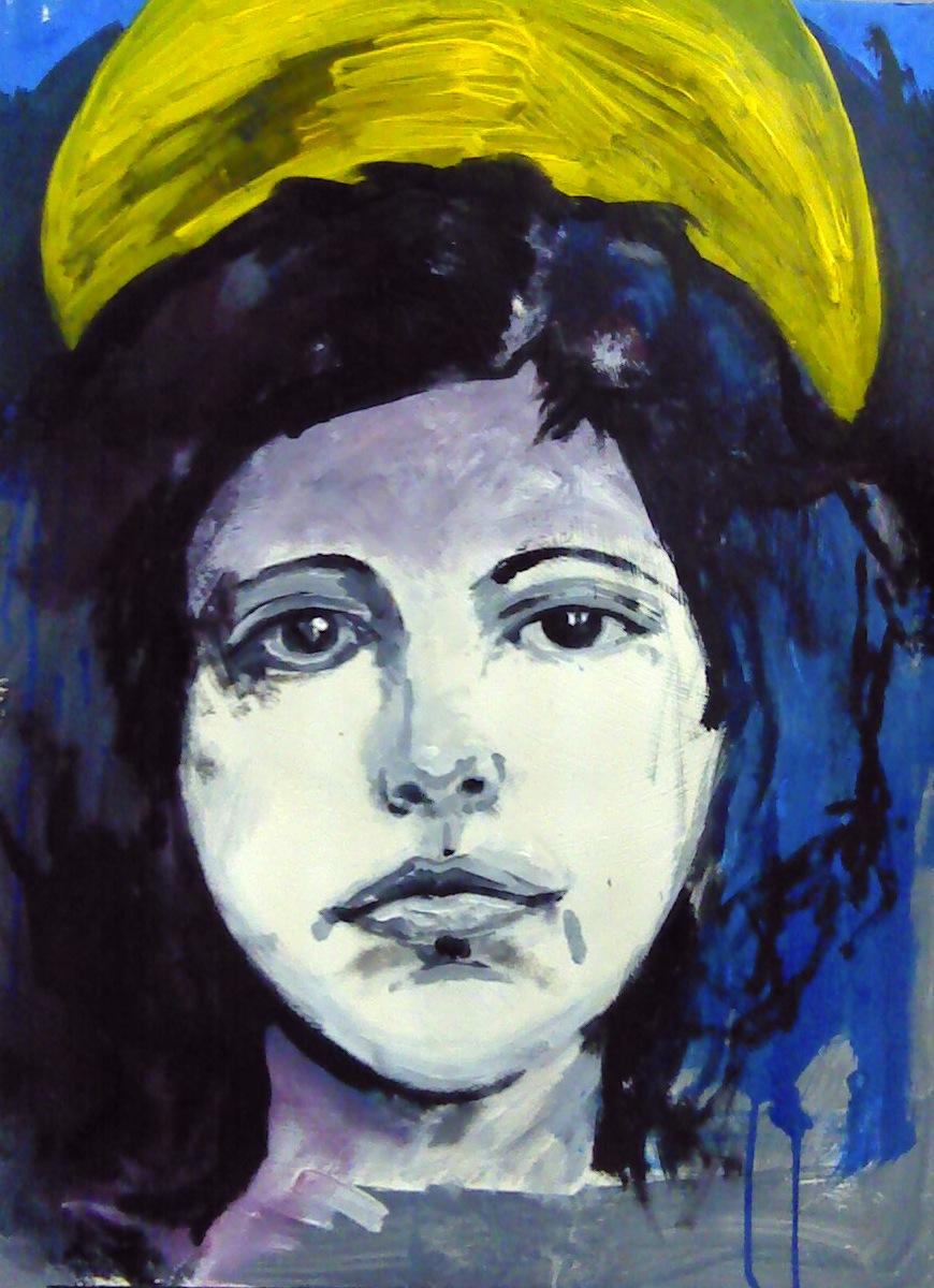 "St. Joan,  24"" x 20"" acrylic on paper .  April, 2012"