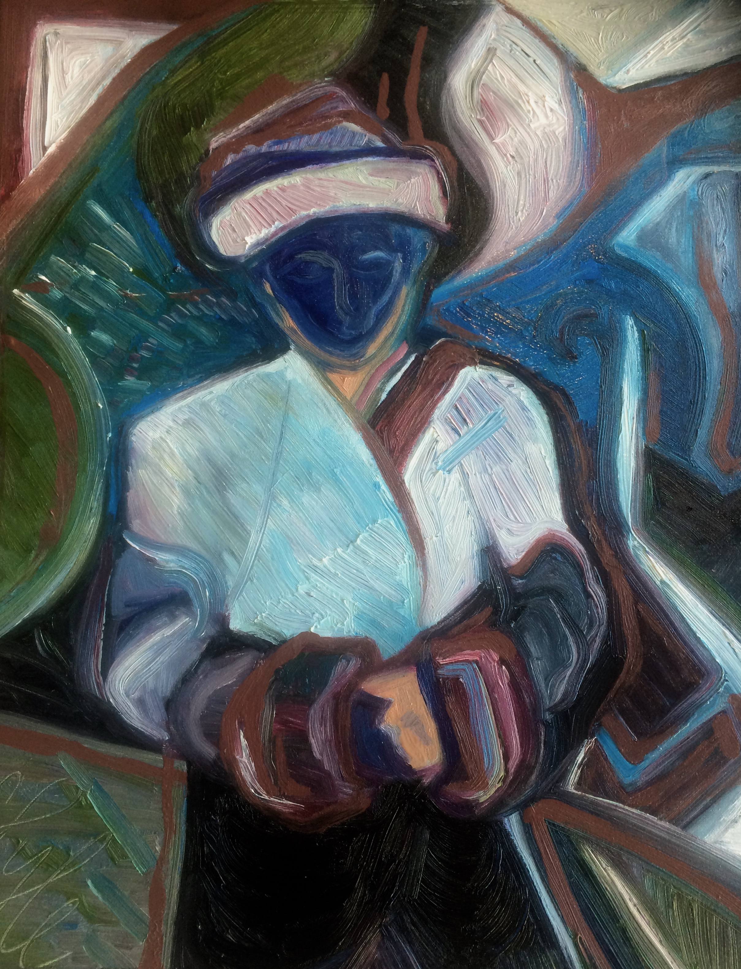 Rebecca Pyle,  The Young Man in India who was Cold , oil on canvas
