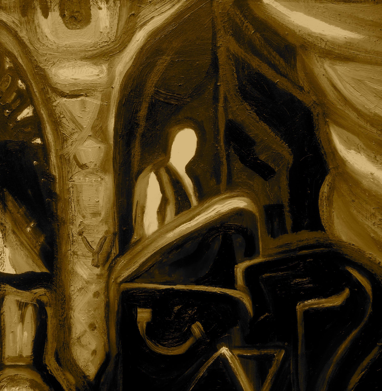 Rebecca Pyle,  The Luxury Box, Sepia , oil on canvas