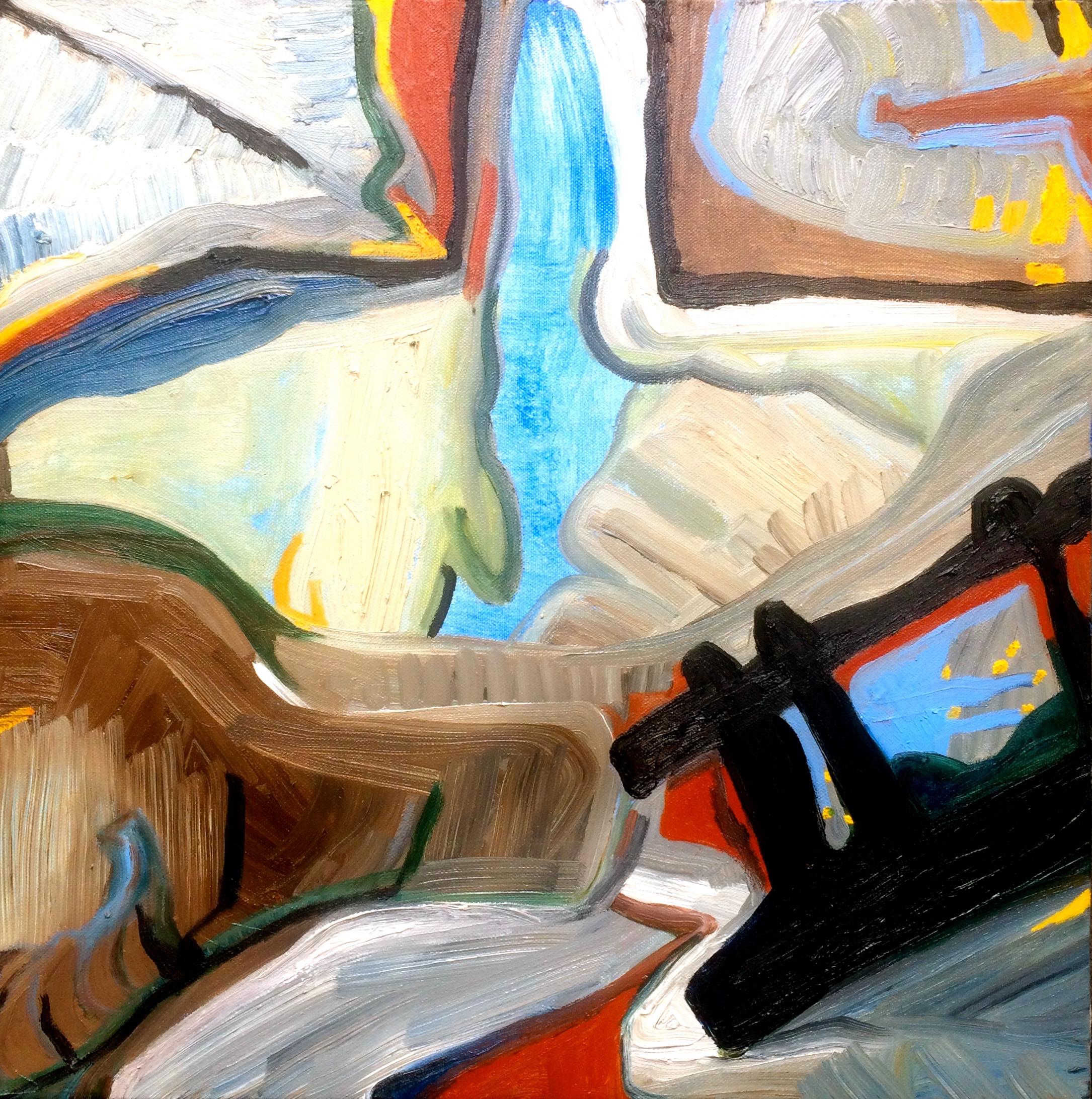 Rebecca Pyle,  Red Ladder, Lemon Harbor I,  oil on canvas
