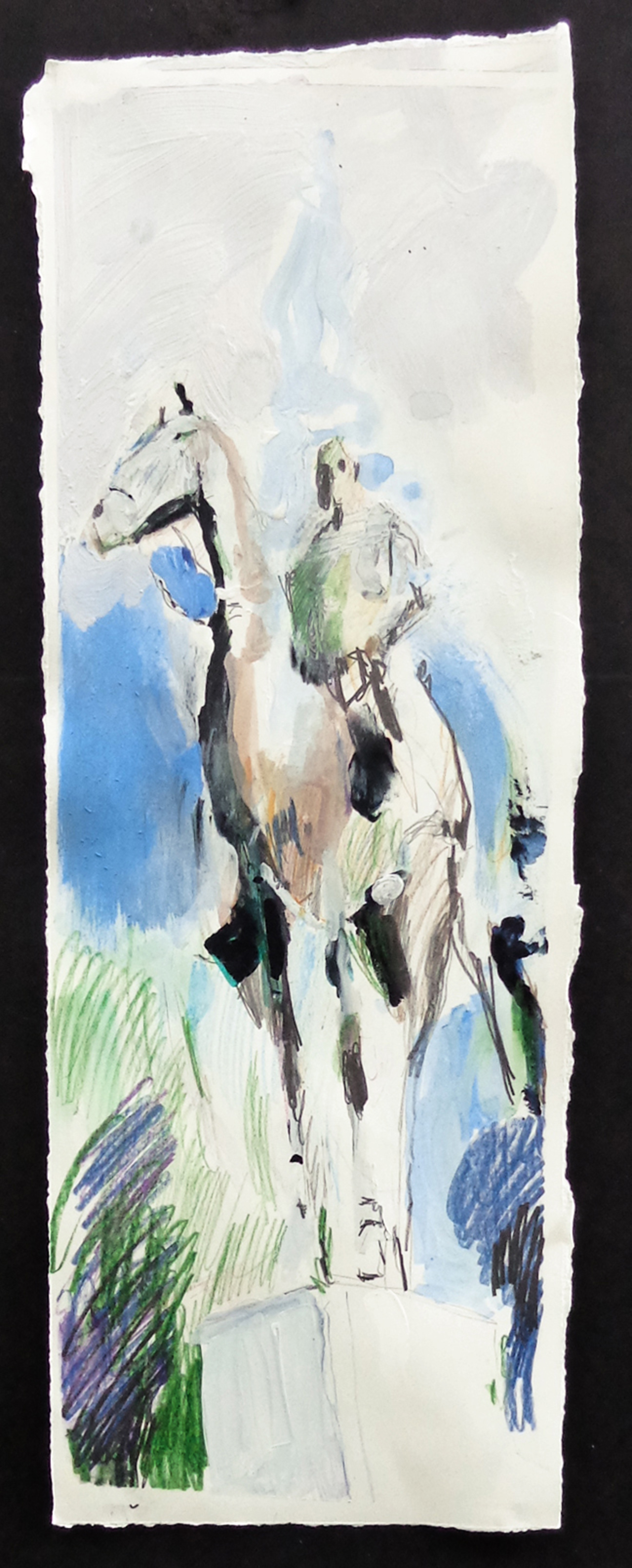 "Forrest on horseback 2 22' x 8"" pencil, ink, gesso, gouache on torn paper 2018"