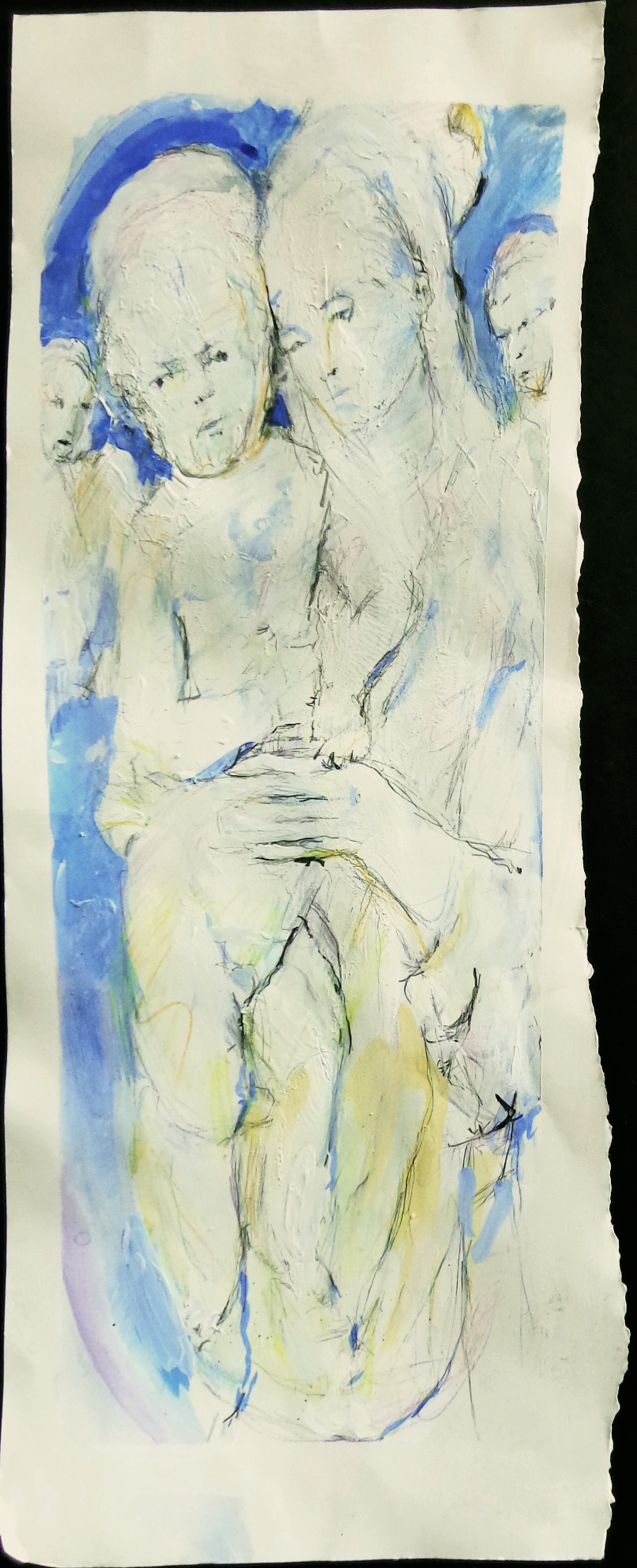 "Madonna and Christ Child [blue-orange 2] Ink, gesso, goauche, pencil on paper, 24"" x 9"", 2018"