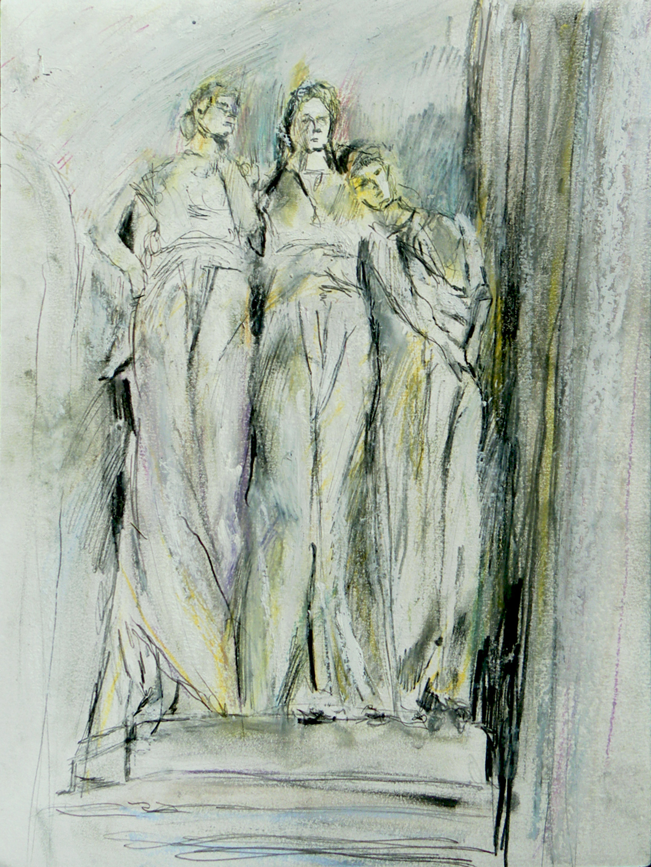 """Three Women from Tomb - Green-Wood Cenetery, oil stick, oil pastel, chalk pastel, graphite and colored pencil on paper, 14"""" x 17"""",  2018"""