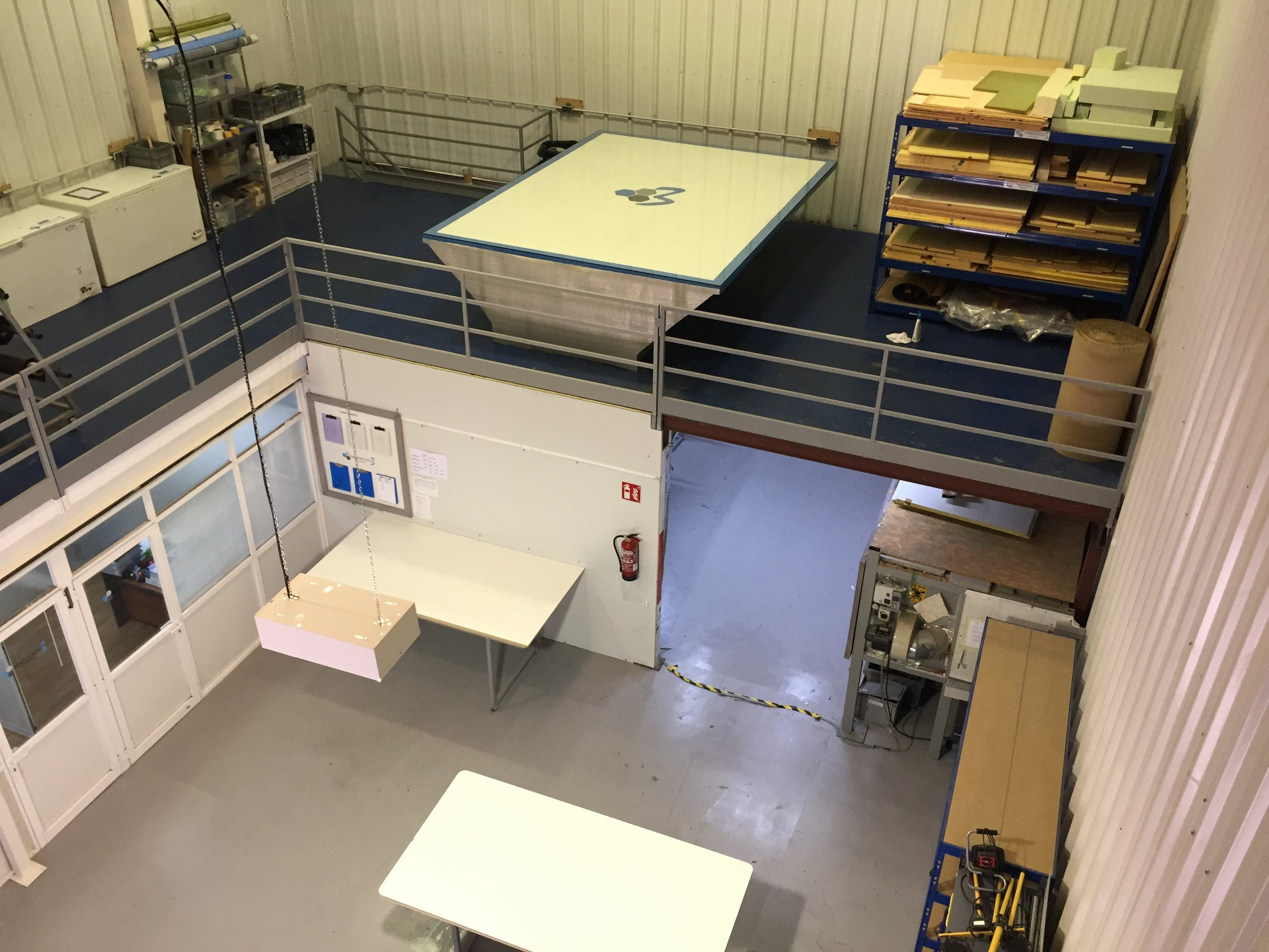 This side of our facility is where all the clean processes like laminating / gluing are carried out, features include , Vac infusion table , pre-preg oven and freezers , Climate controlled clean room, Fibre / consumable / foam storage and office