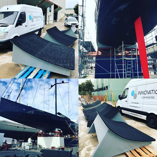 #i3composites Yacht cradles we recently manufactured in conjunction with @iddesyachts for 127ft /39m 110tn displacement Wally Sailing Yacht , CNC  machined male moulds/tooling then resin infused the composite splash mouldings / structure. More info about how we built them on our Facebook page Innovation3