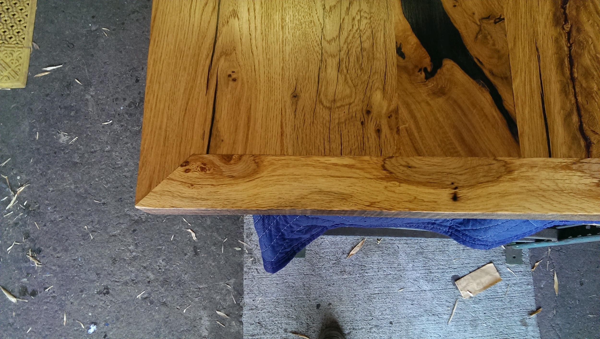 Reclaimed oak table detail