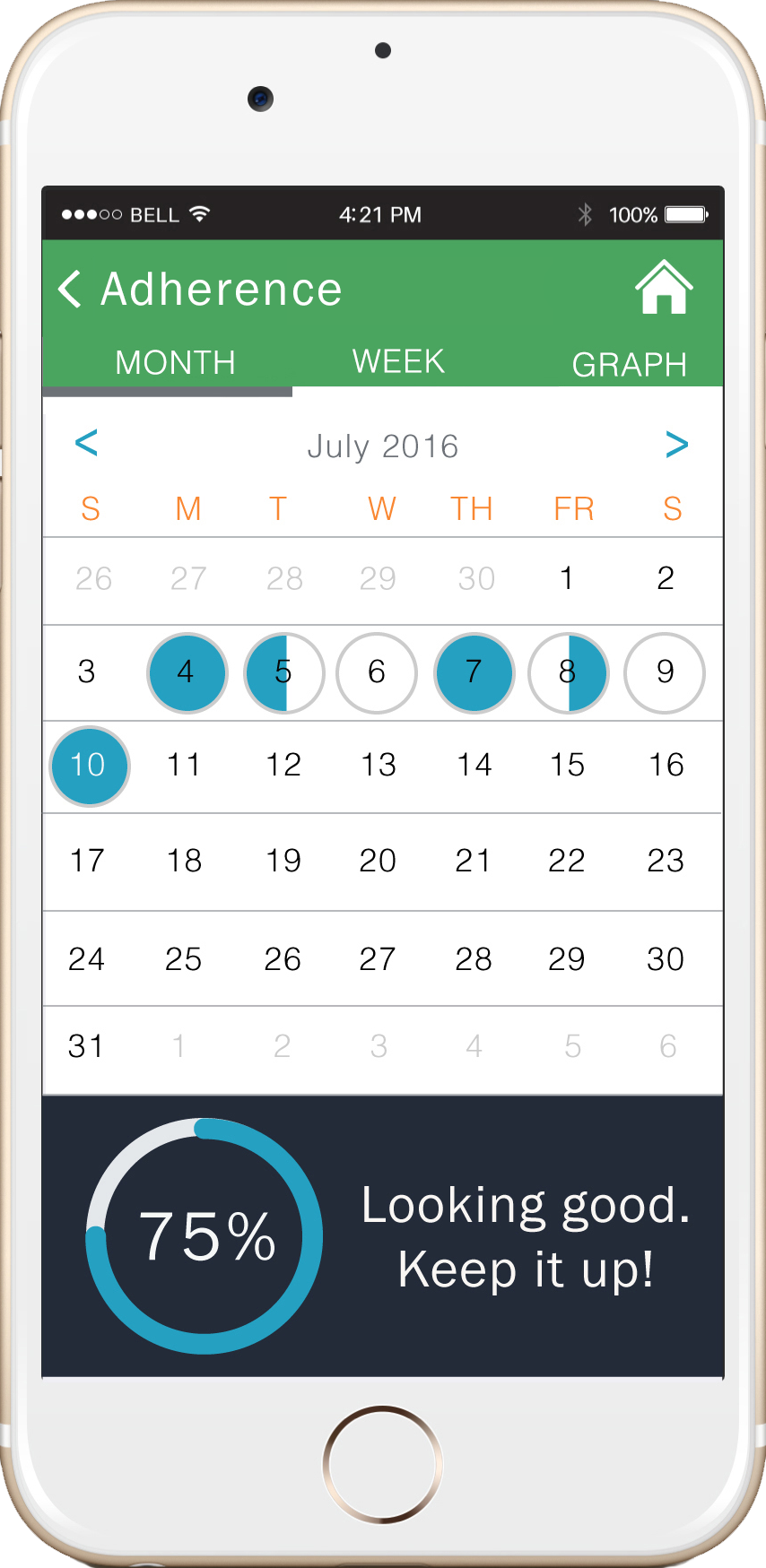 - The calendar view shows medication adherence dailyto encourage self-care and behavior change.