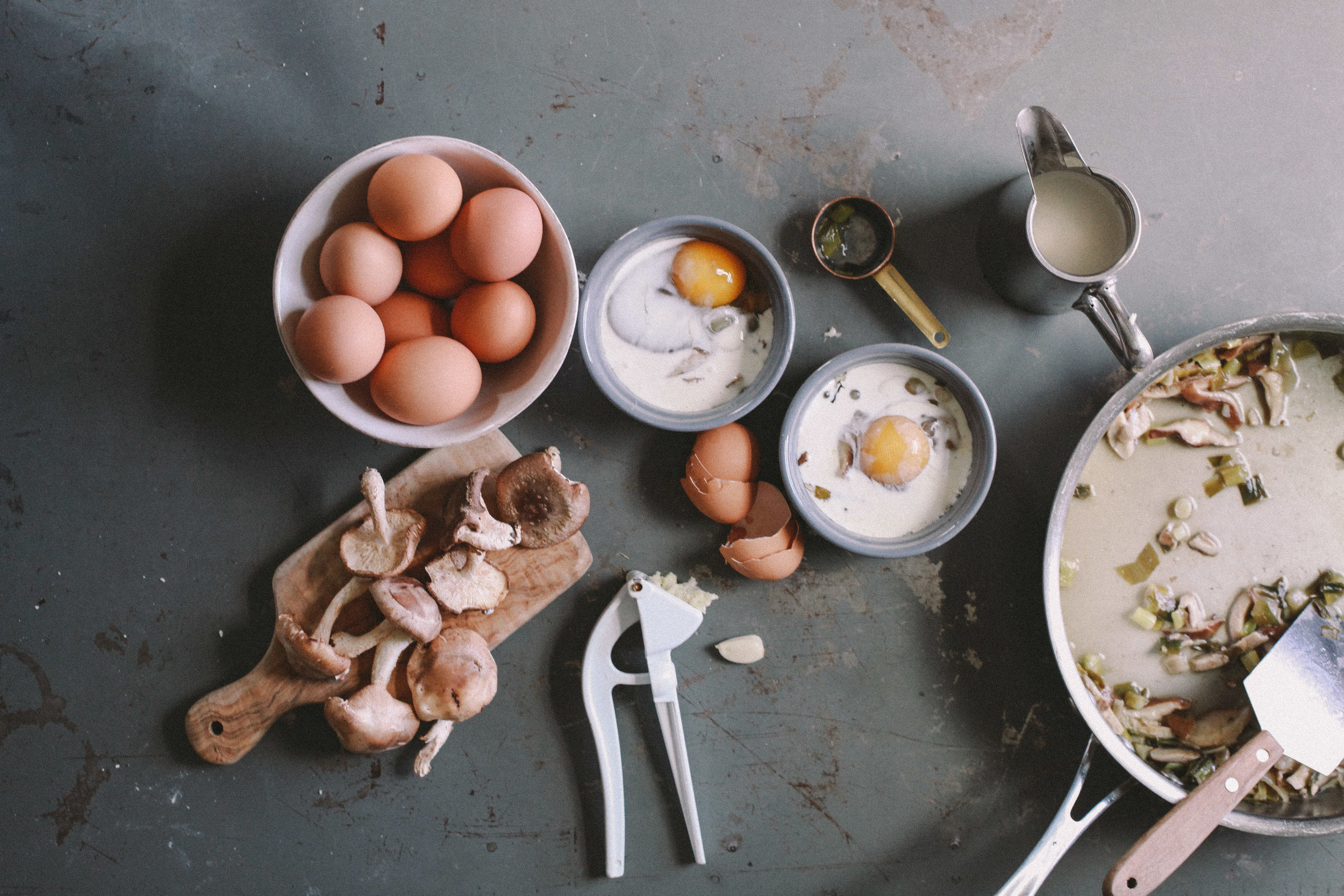 We decided to prepare Eggs en Cocotte with mushrooms and spring onions as a savory brunch item for mom. Our favorite ingredient in the eggs? Wine. It gave the dish such a strong, bold flavor.