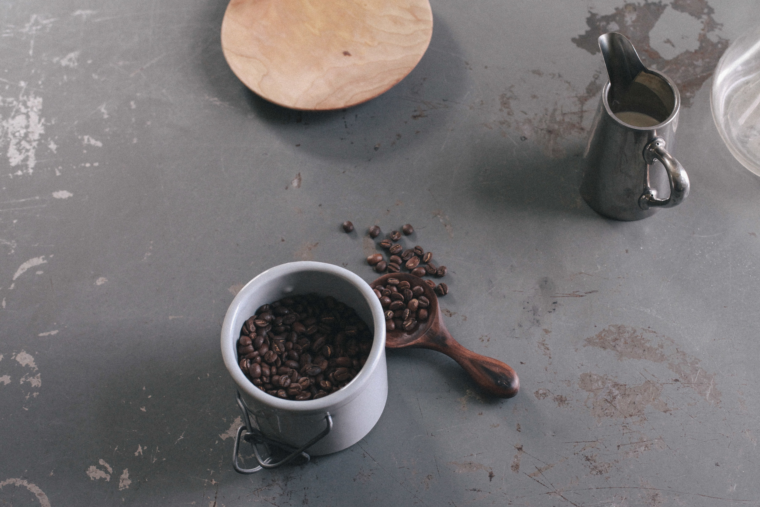 A still shot pre-brewing. A closer shot of Facture Good's delicious  walnut coffee scoop .