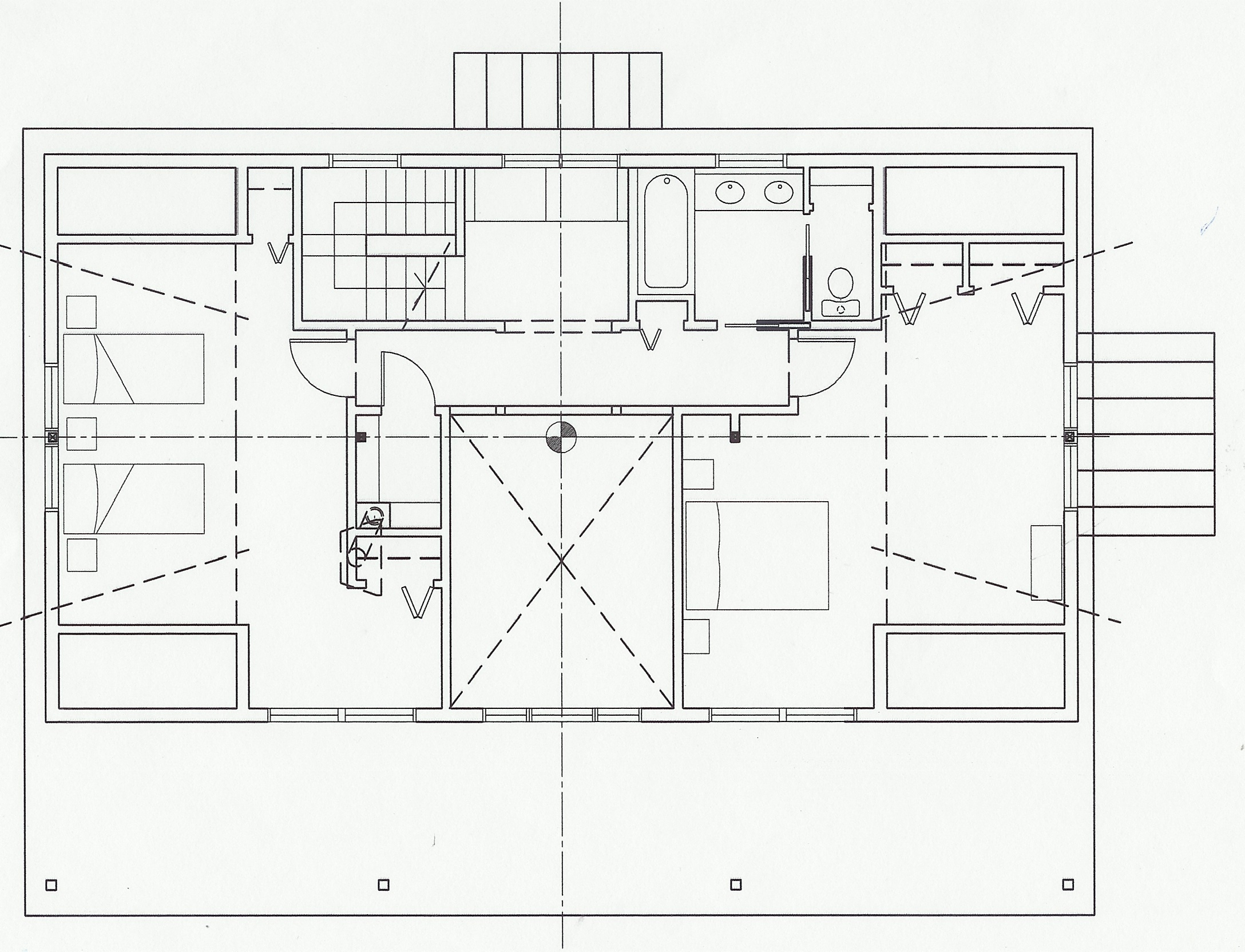 Second Floor Plan - two guest bedrooms, with shared bath. The X indicates the opening between the1st and 2nd floors.