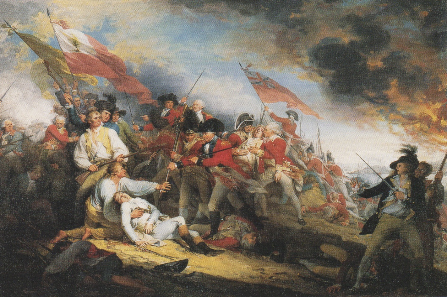The Death of General Warren at the Battle of Bunker's Hill ,  17 June 1775 , by John Trumbull, 1786. The figure at the right is an injured Col. Thos. Grosvenor, builder of the house, and friend of the painter. .  Image: Yale University Art Gallery.