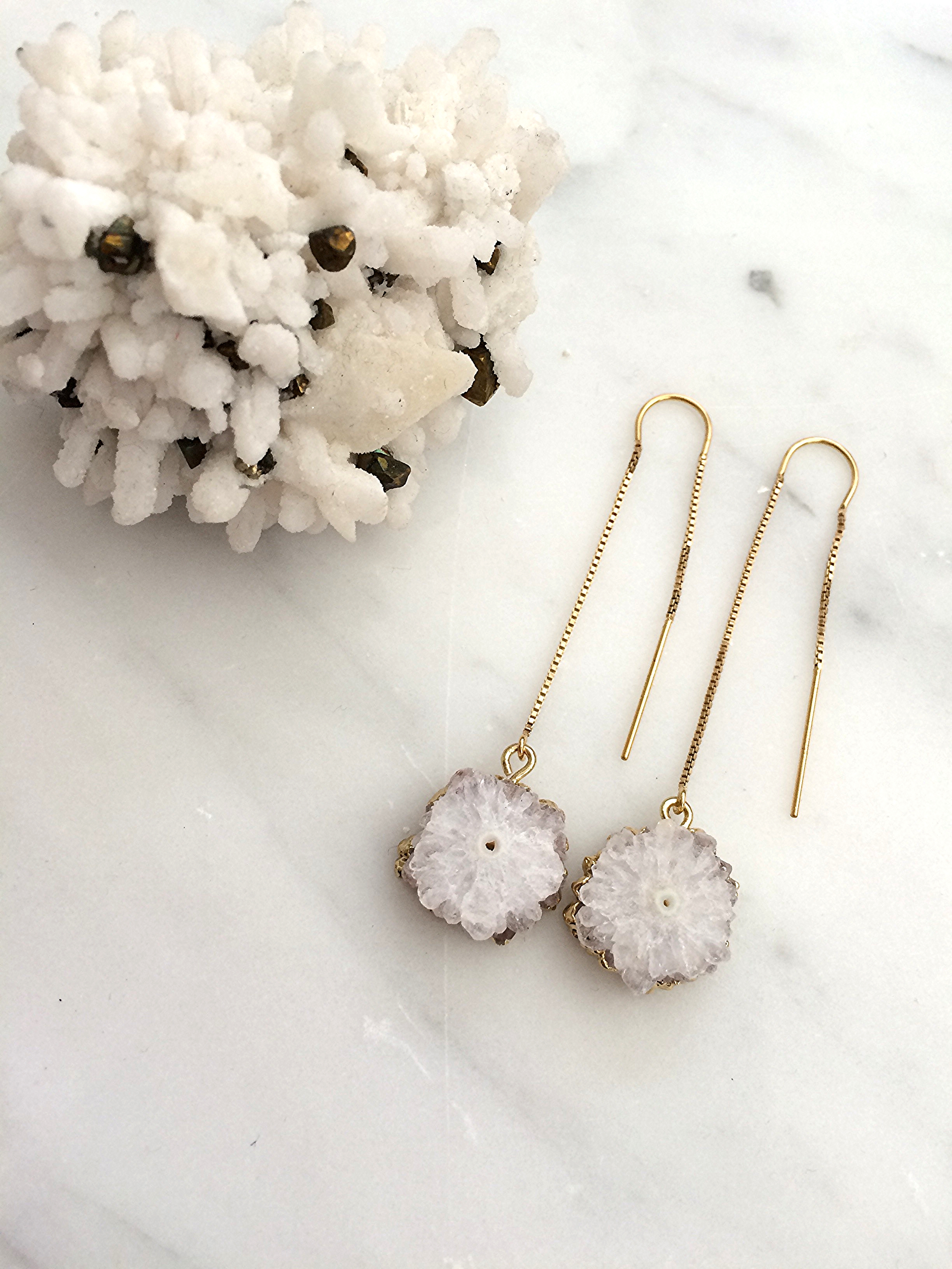 Natural Solar Quartz Flowers w/ 24k gold electroplated edging hung from 14k gold filled earring threads
