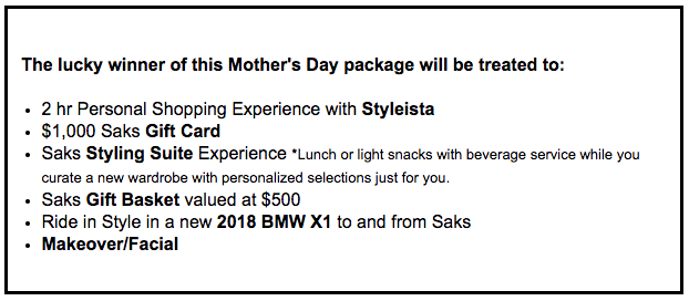 Mothers day package giveaway yyc
