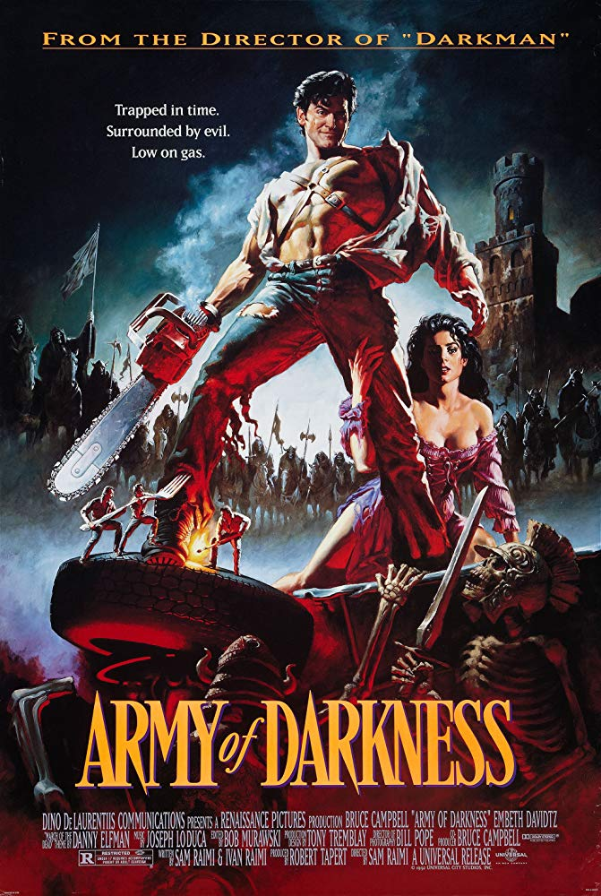 A man is accidentally transported to 1300 A.D., where he must battle an army of the dead and retrieve the Necronomicon so he can return home.