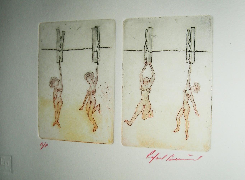 Four Women HungOut To Dry Etching by Rafael Buñuel
