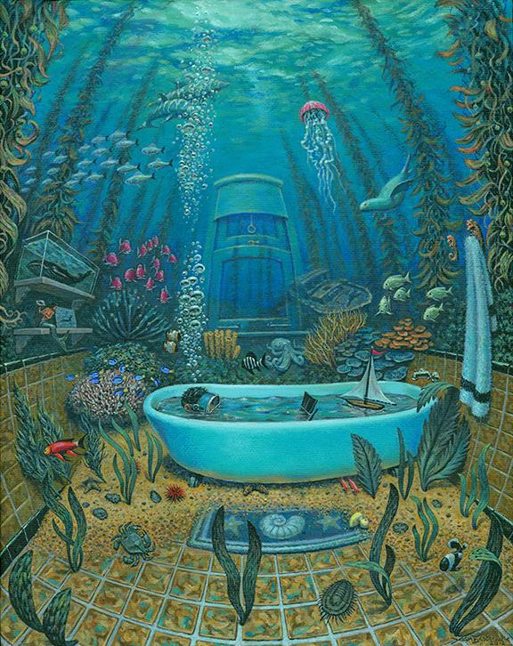 "Submersion by Jean Jacques Bastarache oil on canvas 11""w x 14""h"