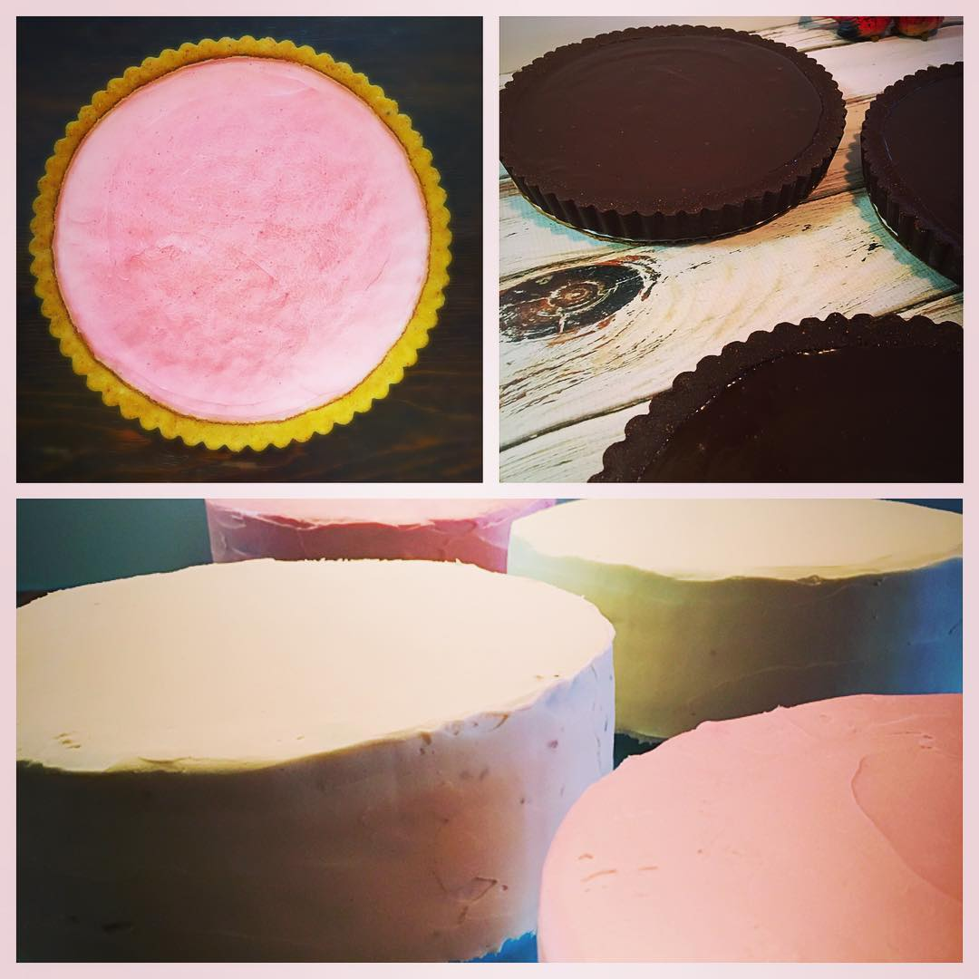 strawberry-lemon cheesecake tart with cornmeal crust, chocolate ganache tarts, and assorted cakes.