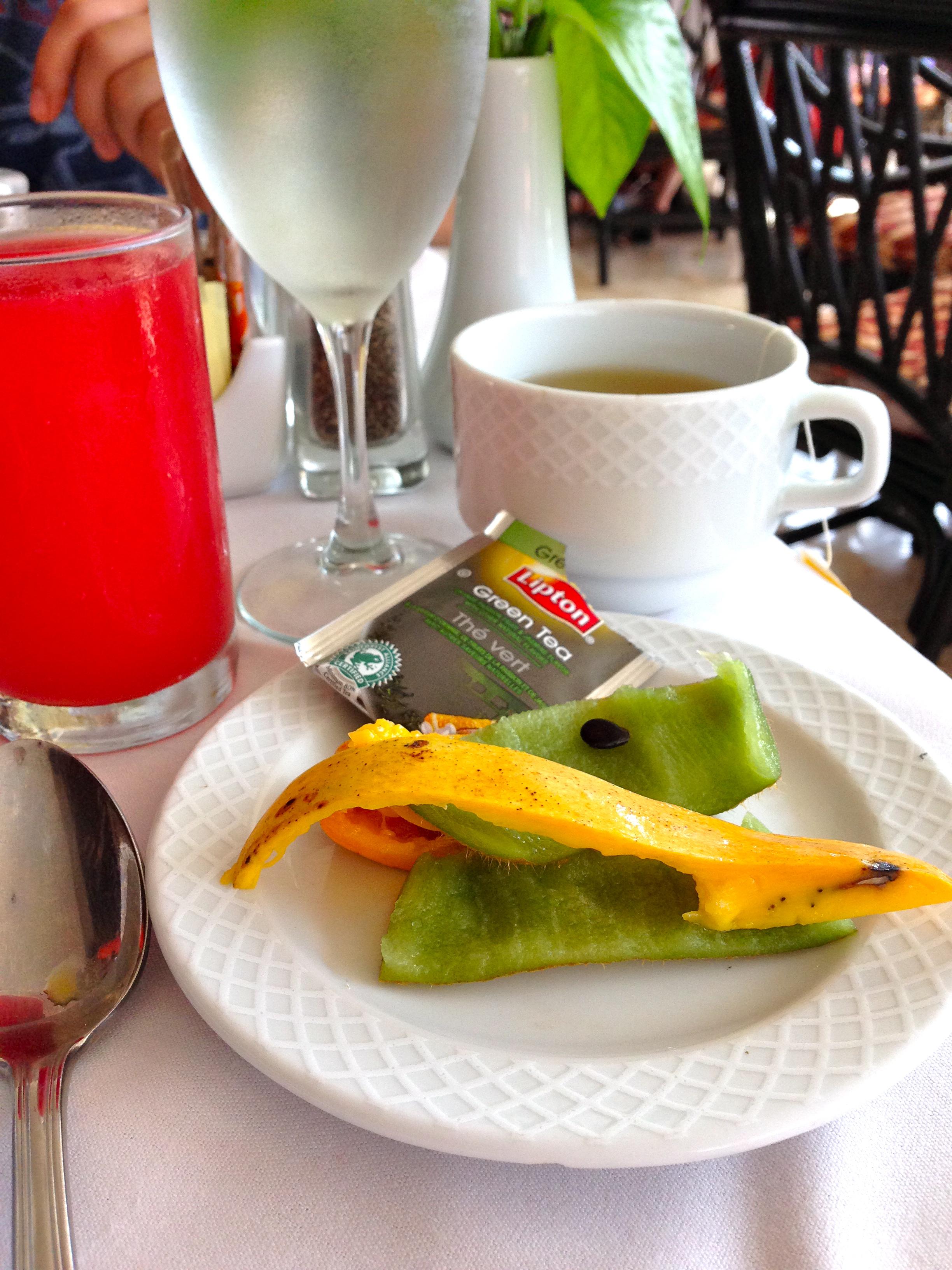 Fruit peels, tea, and watermelon juice. Breakfast of champions.