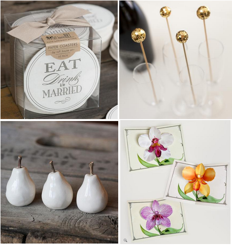 clockwise from left:  Be Married Letterpress Coasters 50-Pack ;  Gold Glitter Drink Stirrers ;  Orchid Flower Pop-Up Card Trio ;  Tiny Ceramic Pear Trio