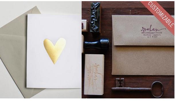 Gold Foil Heart Notecards Set of 5 ; Custom Calligraphy Address Stamp