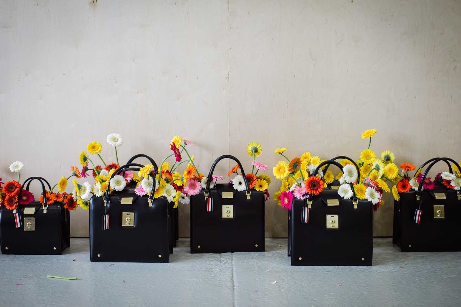 Purses at Thom Browne.  GORG.