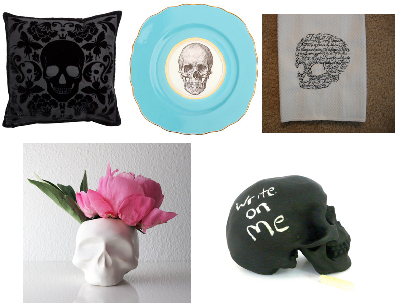 clockwise from top left: pillow , dinner plate , tea towel , chalkboard skull  (for leaving cryptic messages to your lover),  ceramic planter  .